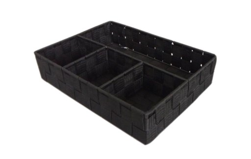 Black -4 Compartment Woven Strap Organizer ( 12 )