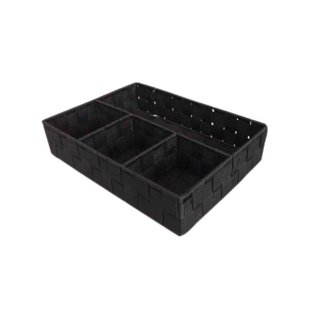 Black - 4 Compartment Woven Strap Organizer ( 12 )
