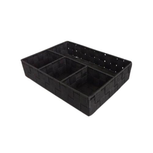 Black -4 Compartment Woven Strap Organizer ( 12 )