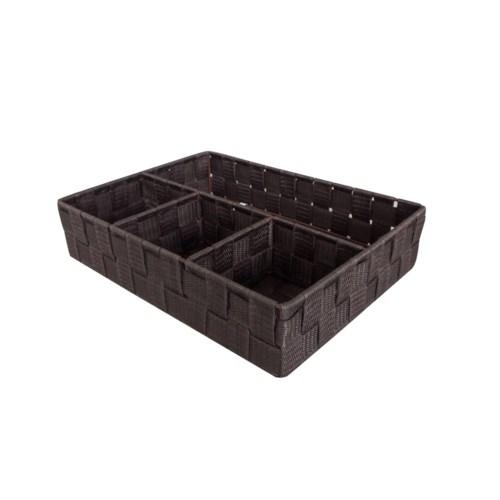 Brown -4 Compartment Woven Strap Organizer (12 )