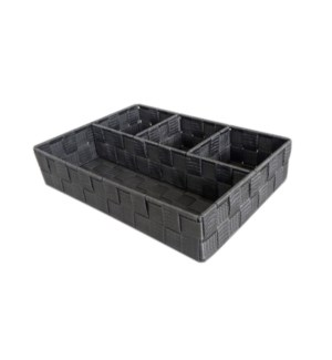 Grey- 4 Compartment Woven Strap Organizer ( 12 )