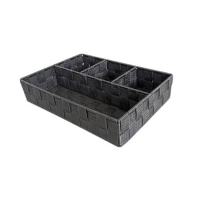 Grey-4 Compartment Woven Strap Organizer ( 12 )