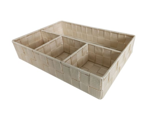 Ivory-4 Compartment Woven Strap Organizer ( 12 )