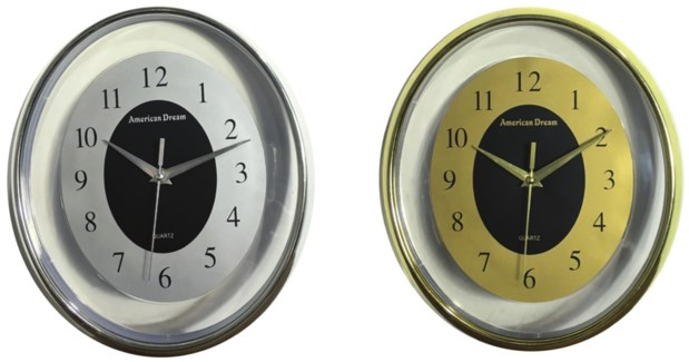 12-inch Oval Clear Wall Clock  (10) Color Assorted
