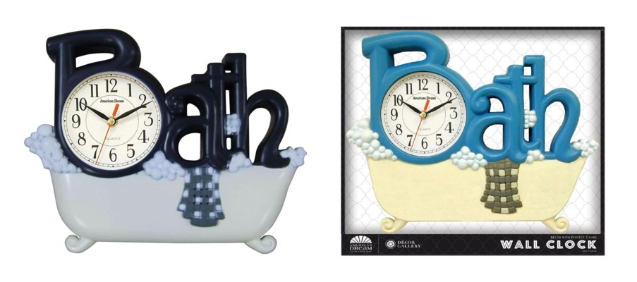 Bath Wall clock (6) Color Assorted