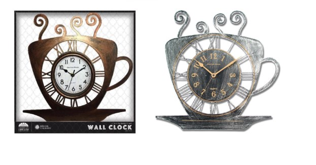 15-inch Tea Cup Wall Clock (6) Assorted