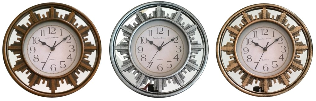 11.8-inch Mirror wall clock ( 10 ) Assorted