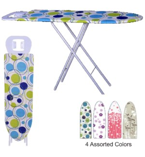 48-inch Heavy Wooden Ironing Board With Iron rest (4) 4 Colors Assorted