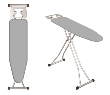 """41""""x12"""" Metal top ironing board with metal plate iron rest, T Leg (4)"""