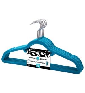 10Pc Turquoise Velvet Suit Hanger ( 12 Set )