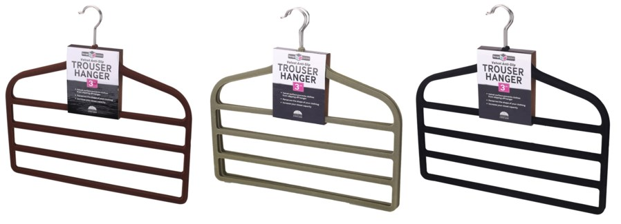 3PC  Velvet Trouser Hanger  ( 12 Set ) 3 Colors Assorted