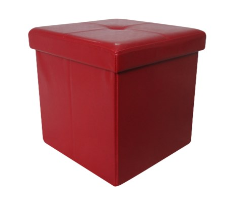 "Burgundy 15"" Single Faux Leather Folding Storage Ottoman (4)"