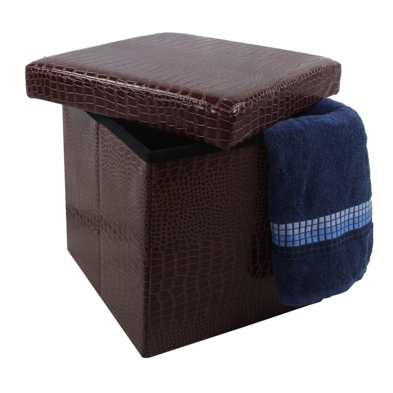 "Brown 15"" Single Alligator Design Folding Storage Ottoman (4)"