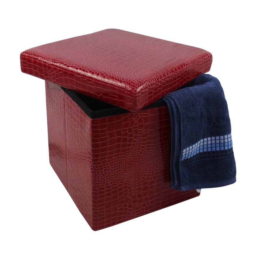 "Burgundy 15"" Single Alligator Design Folding Storage Ottoman (4)"