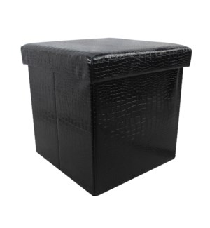 "Black 15"" Single Alligator Design Folding Storage Ottoman (4)"