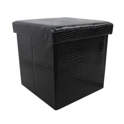 "Black 15"" Single Alligator Design Folding Storage Ottoman (4)"