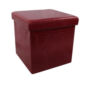 "Burgundy 15"" Single Alligator Design Folding Storage Ottoman (4)"
