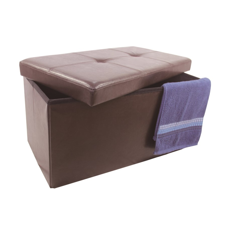 "Brown 30"" Double Faux Leather Folding Storage Ottoman (2)"