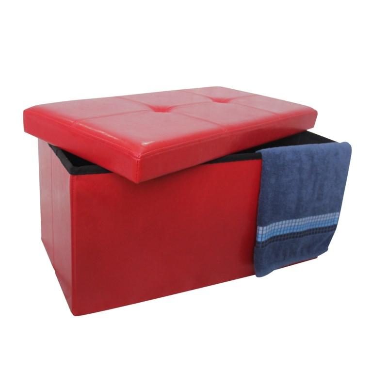 "Burgundy 30"" Double Faux Leather Folding Storage Ottoman (2)"