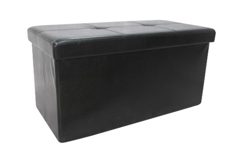 "Black 30"" Double Faux Leather Folding Storage Ottoman (2)"