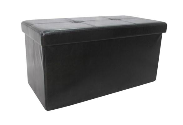 "Black 30"" Double Faux Leather Folding Storage Ottoman (2)"