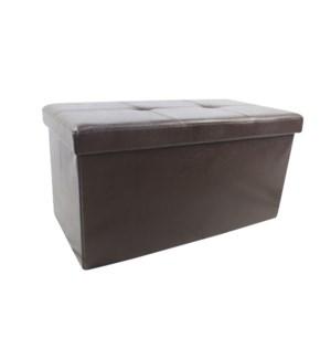 "Brown 30"" Double Faux Leather Folding Storage Ottoman (2)"