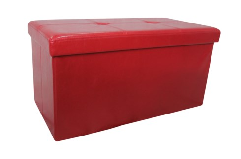 "Burgundy 30"" Double Faux Leather Folding Storage Ottoman (2)"