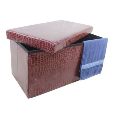 "Brown 30"" Double Alligator Design Folding Storage Ottoman (2)"