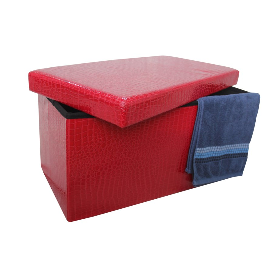 "Burgundy 30"" Double Alligator Design Folding Storage Ottoman (2)"