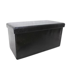 "Black 30"" Double Alligator Design Folding Storage Ottoman (2)"