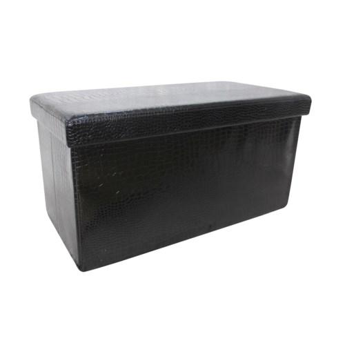 "Black 30"" Double Alligator Design Folding Storage Ottoman (2)"