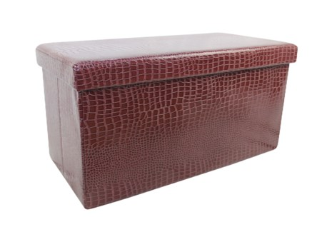 "Brown 30"" Double Alligator Design Folding Storage Ottoman (2)"