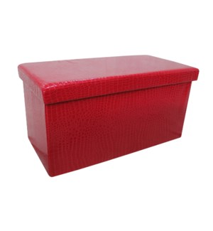 "Burgundy 30"" Double Alligator Design Folding Storage Ottoman (2)"