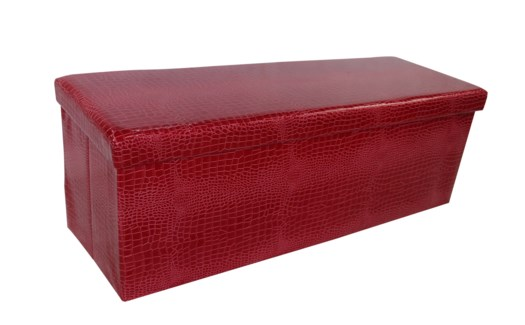 "Burgundy 45"" Triple Alligator Design Folding Storage Ottoman (2)"
