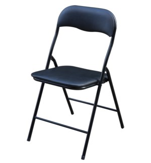Black - Vinyl Cushion Folding Chair (6)