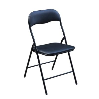 Black - Vinyl Cushion Folding Chair (6)
