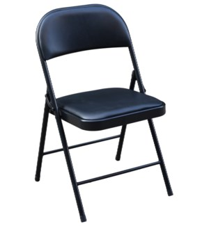 Black - PU Heavy Duty Cushion Folding Chair ( 6 )