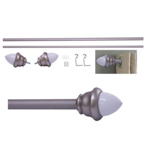 "Acorn Design 36-66"" Silver Curtain Rod with Ceramic Finial (4)"