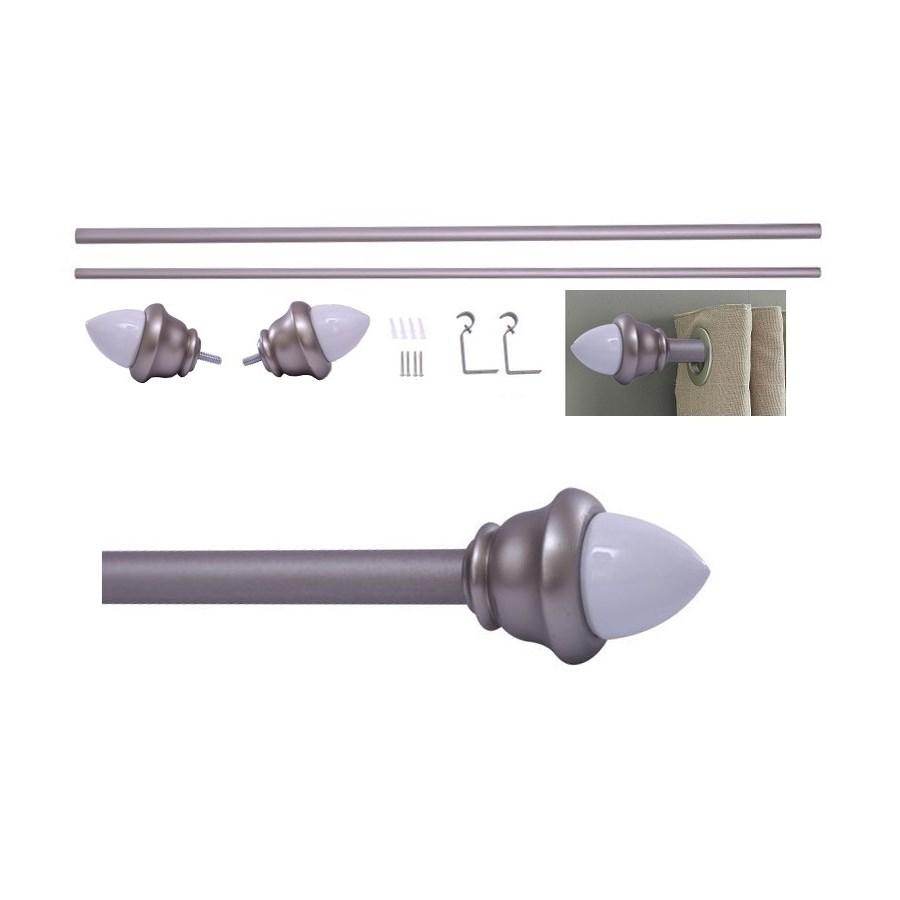 "Acorn Design 36-66"" Silver Curtain Rod with Ceramic Finial (4)"