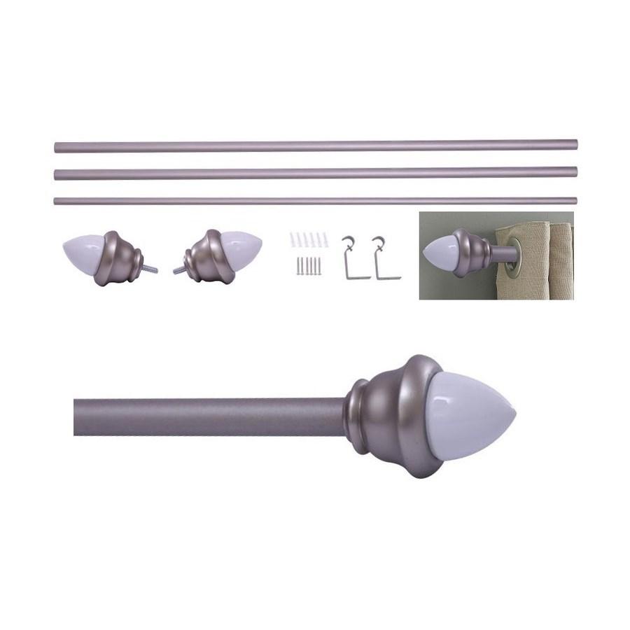 "Acorn Design 66-120"" Silver Curtain Rod with Ceramic Finial (4)"