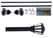 "Nicholas Design 36-72"" Grey Curtain Rod with Metal + Plated Iron/Nickel Finial (4)"