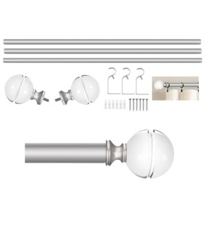 "Stanton Design 72-144"" Silver Curtain Rod with Acrylic Finial (4)"