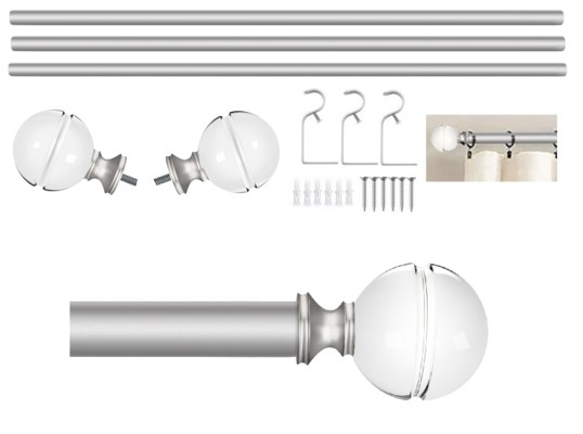 """Stanton Design 72-144"""" Silver Curtain Rod with Acrylic Finial (4)"""