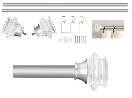 "Troy Design 36-72"" Nickel Curtain Rod with Acrylic Finial (4)"