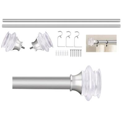 "Troy Design 36-72"" Nickel Curtain Rod with Acrylic Finial (4)"
