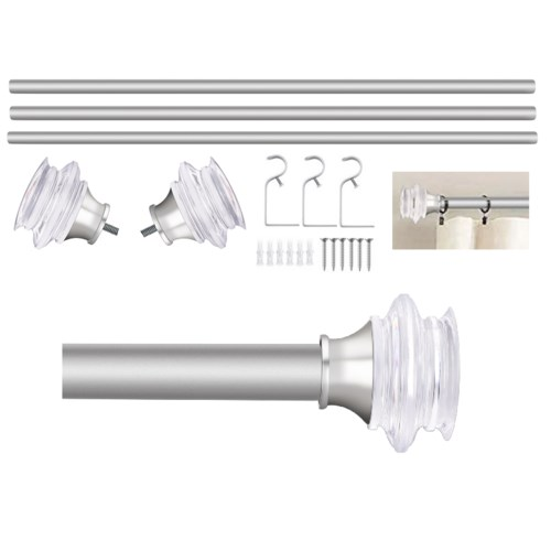 "Troy Design 72-144"" Nickel Curtain Rod with Acrylic Finial (4)"
