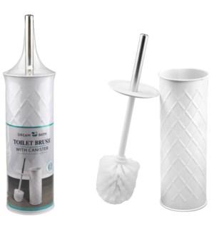 Matte White - Toilet Brush with Diamond Lines(12)