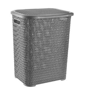 Grey - 69L Knit Design Laundry Hamper (6)