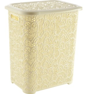 Lace Design Laundry Hamper, 69 Liter, Beige (6)