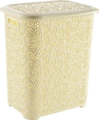 Lace Design Laundry Hamper, 69 Liter, Beige (6)